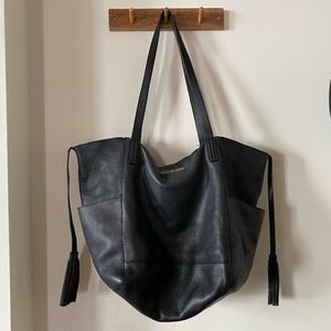 michael kors • black leather tassel tote bag